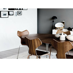 Walnut and Leather Grand Prix Chairs in Room with Super Elliptical Table Fritz Hansen