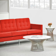 Warren Platner Marble Coffee Table in Room with Red Florence Knoll Sofas