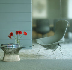 Warren Platner Glass Coffee Table in Room with Bertoia Bird Chair Knoll