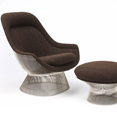 Warren Platner Easy Chair and Ottoman in KnollTextile Dynamic Musk Upholstery from Knoll
