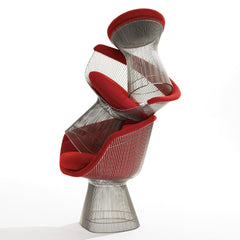 Platner Arm Chairs and Stool Red Stacked Knoll