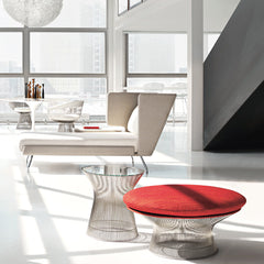 Platner Ottoman and Side Table with Architecture & Associés Chaise from Knoll