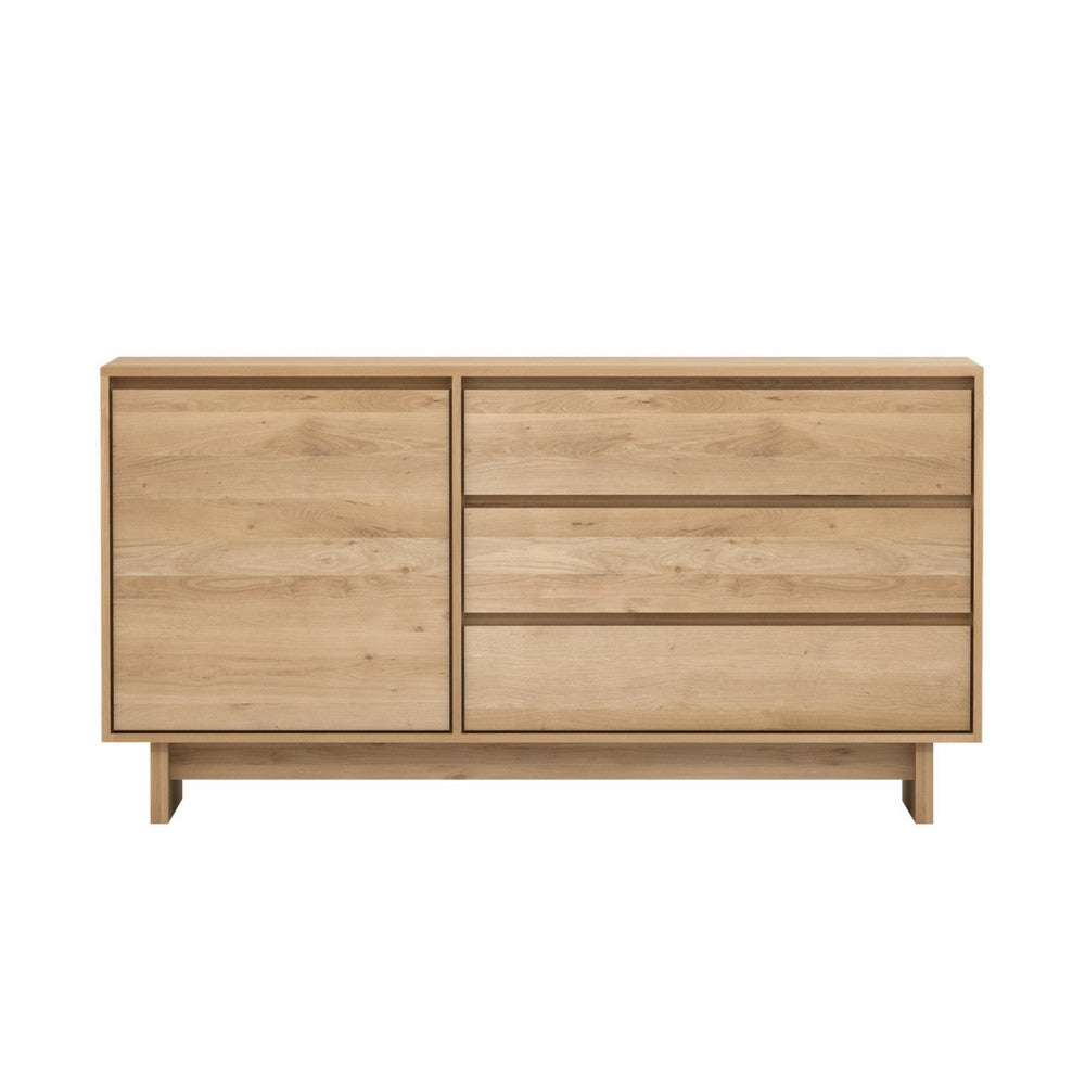 Wave Sideboard in Oak with 1-Door and 3-Drawers from Ethnicraft