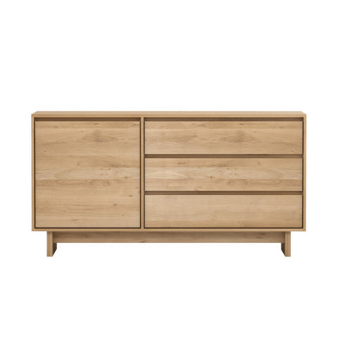Oak Wave Sideboard 1 Door 3 Drawers