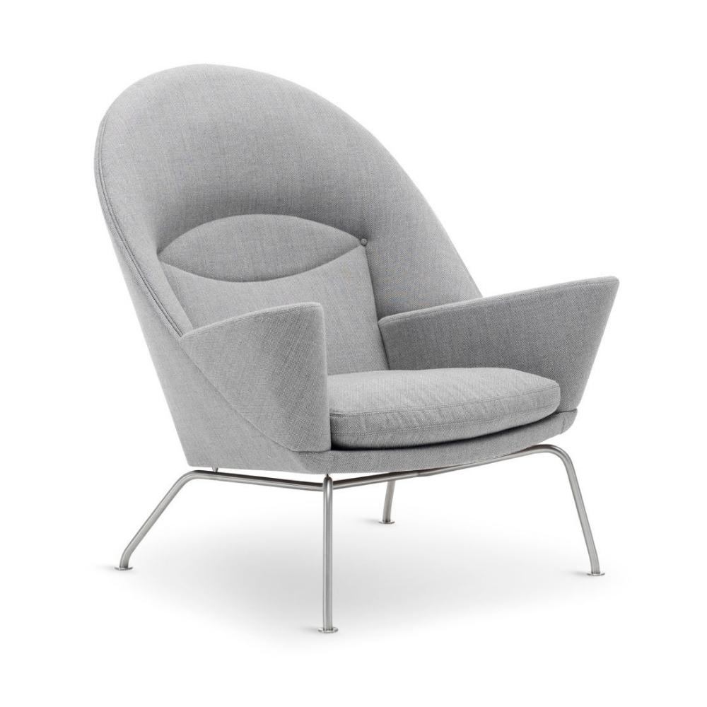 Hans Wegner Oculus Chair CH468 Carl Hansen & Son Light Grey Fiord 151 Angled