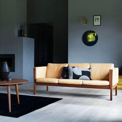 Wegner CH163 Sofa in oiled walnut with Sif 90 Leather in living room with CH008 Coffee Table Carl Hansen & Son
