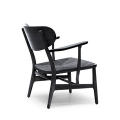 Wegner CH22 Lounge Chair Black Painted Oak Back by Carl Hansen and Son