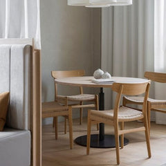 Wegner CH23 Dining Chairs in situ Sticks n' Sushi London by Norm Architects Carl Hansen and Son