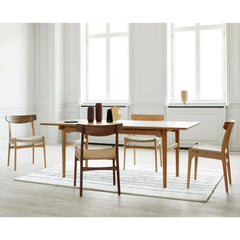 Wegner CH23 Oak and Walnut Dining Chairs in Room with Dining Table and Naja Utzon Popov Woodlines Rug Carl Hansen and Son