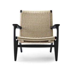 Hans Wegner CH25 lounge chair oak black lacquered frame with natural papercord Carl Hansen and Son