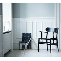Wegner CH26 Dining Chair Black Painted Oak in Room