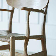 Wegner CH26 Dining Chair Oak Curved Armrest Detail