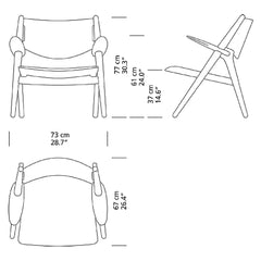 Wegner CH28 Lounge Chair Dimensions Carl Hansen and Son