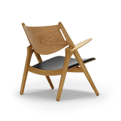 Wegner CH28 Sawhorse Chair Oak with Black Leather Back Carl Hansen & Son