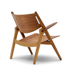 Wegner CH28 Sawhorse Chair Walnut and Oak Back Carl Hansen & Son