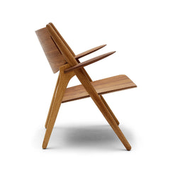 Wegner CH28 Sawhorse Chair Walnut and Oak Side Carl Hansen & Son