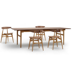 Wegner CH33 Chairs Walnut Oak in room with Dining Table Carl Hansen and Son