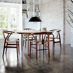 Wegner CH337 Dining Table in Room with Wishbone Chairs Carl Hansen & Son