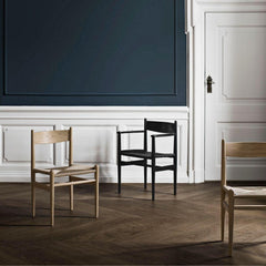 Carl Hansen Wegner CH36 and CH7 Dining Chairs in Oak White Oil and Black Painted Oak in Copenhagen Hotel