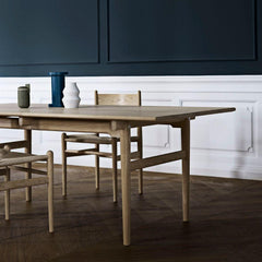 Wegner CH36 Dining Chairs in Oak White Oil with CH327 Dining Table