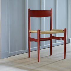 Wegner CH36 Dining Chair by Carl Hansen and Son Red Lacquer Shaker Chair with Natural Papercord