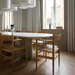 Wegner CH37 Dining Chairs in situ Sticks n' Sushi London by Norm Architects Carl Hansen and Son