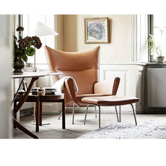 Wegner CH446 Ottoman and CH445 Wing Chair in Hellerup Estate Carl Hansen and Son