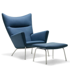 Oculus Lounge Chair with Balder 1549 Blue Fabric along with CH446 Footrest with Balder 1549 Blue Fabric by Hans Wegner for Carl Hansen & Søn