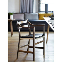 Wegner CH46 Chair Smoked Oak with Leather Cushion Detail Carl Hansen and Son