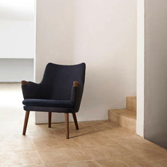 Hans Wegner CH71 Lounge Chair Dark Blue with Walnut Carl Hansen and Son