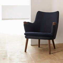 Hans Wegner CH71 Lounge Chair Dark Blue Canvas with Walnut Carl Hansen and Son