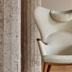Wegner CH78 Mama Bear Chair in white Hallingdal 100 with matching Neck Pillow Styled by Carl Hansen