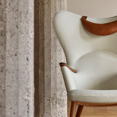 Wegner CH78 Mama Bear Chair White Hallingdal 100 with SIF 92 Leather Neck Pillow Styled by Carl Hansen