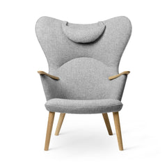 Wegner CH78 Mama Bear Chair Grey Hallingdal 130 with Neck Pillow Front by Carl Hansen