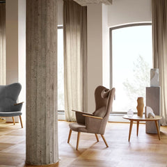 Wegner CH78 Mama Bear Chairs in Kvadrat Fiord light brown and light grey in room with CH008 Coffee Table