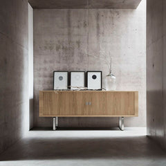 Wegner Credenza with Brushed Stainless Steel Legs in Room Carl Hansen & Son