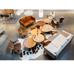 Wegner Shell Chairs Cowhide in Carl Hansen & Son LA Showroom Aerial View