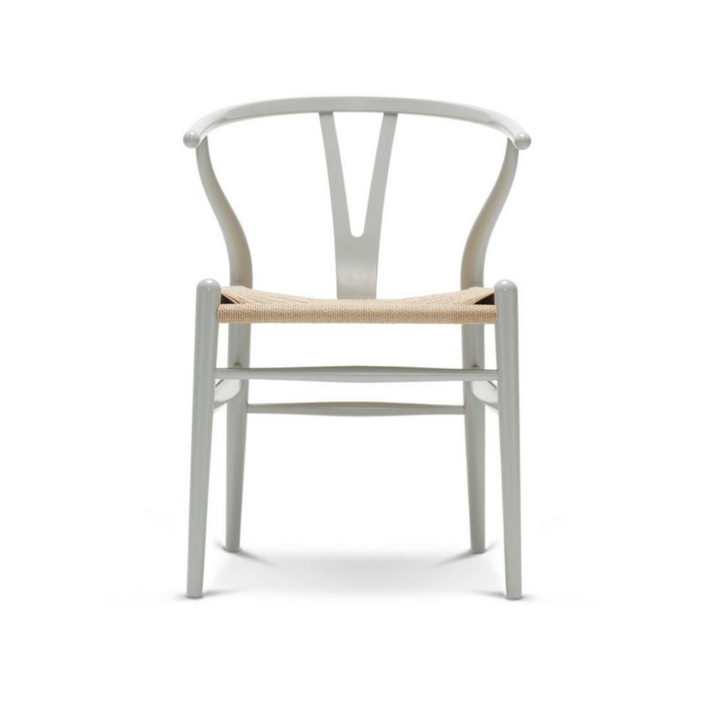 Wegner Wishbone Chair in Silver Grey Lacquer with Natural Paper Cord