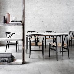 Wegner Wishbone Chairs in Room with CH335 Dining Table Carl Hansen and Son