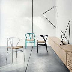 Wegner Wishbone Chairs Silver Teal Black in Room