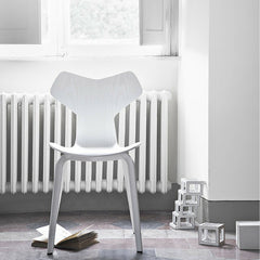 White Ash Grand Prix Chair with Wood Legs in Room Arne Jacobsen Fritz Hansen
