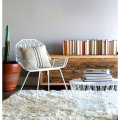 Bend White Farmhouse Chair in Room with Drum Table