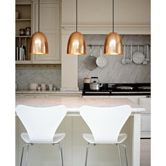 White Series 7 Bar Stools in Kitchen with Original BTC Copper Pendants