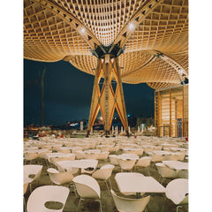 T-Vac chairs in outdoor pavilion Ron Arad for Vitra