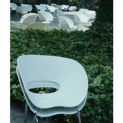 White Tom Vac Chairs Stacked Outdoors by Ron Arad for Vitra