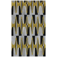 Yerra Art Deco Cowhide Rug Black White and Gold