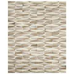 Yerra Art Deco Cowhide Rug Oat and Soft Taupe
