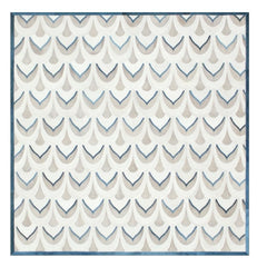 Yerra Pluma Rug Milk with Teal Blue Accents