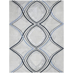 Yerra Vector Cowhide Rug Custom Milk Blue and Silver Metallic