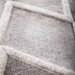 Diamond Pattern Cowhide and Shearling Rug